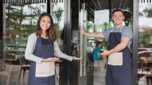 Waitstaff welcoming guests