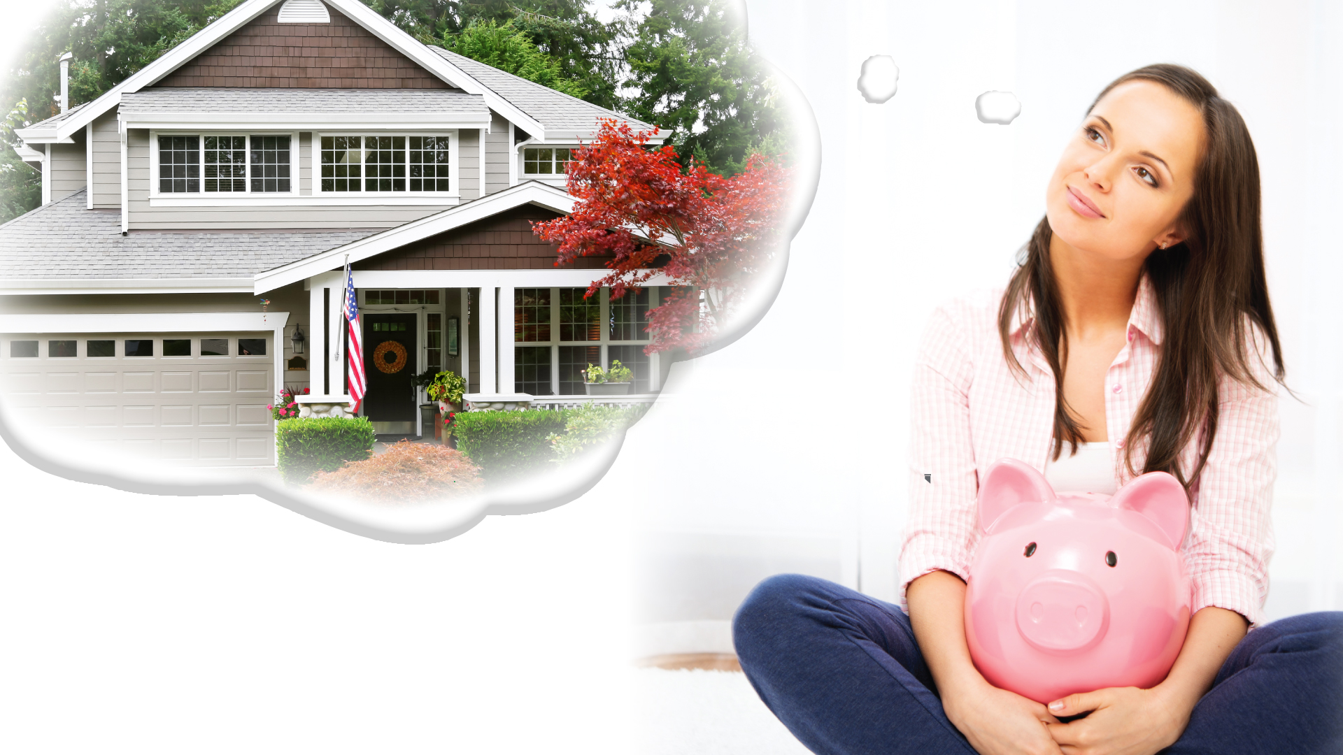 Woman dreaming about house holding piggy bank.