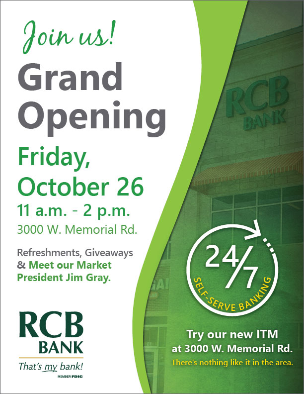 RCB Bank Grand Opening in OKC Oct. 26 at 3000 W. Memorial Rd.