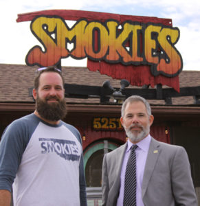 Aaron Latsos and Eddie Curran standing outside Smokie's BBQ