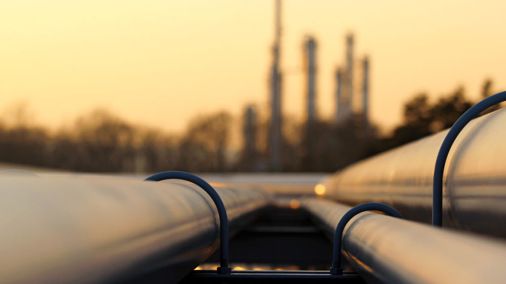 Pipeline for crude oil leading to refinery